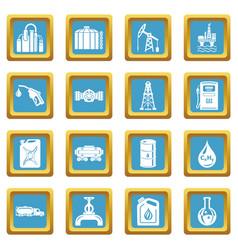 oil industry icons set sapphirine square vector image