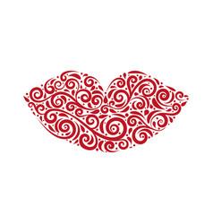 ornamental stylized lips vector image