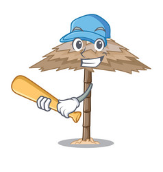 Playing baseball beach shelter buildings with palm vector