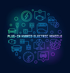 plug-in electric vehicle round colorful vector image