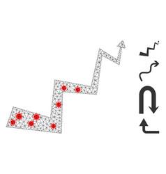 Polygonal carcass curve arrow pictograph with vector