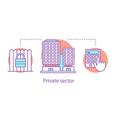 Private sector concept icon vector