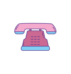 retro telephone phone fill and line vector image