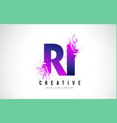 ri r i purple letter logo design with liquid vector image