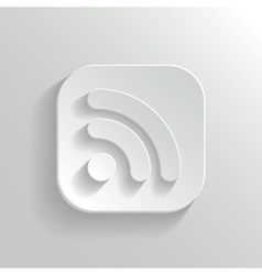 RSS icon - white app button vector image