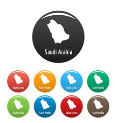 Saudi arabia map in black set simple vector
