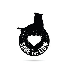 save the lion symbol in black color vector image vector image