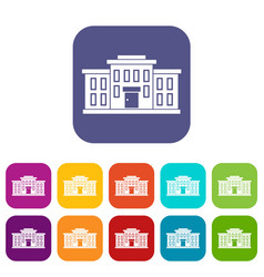 School building icons set vector