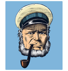 Sea captain marine old sailor with pipe or vector