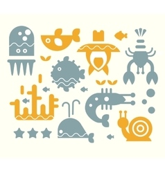 Sea Inhabitants Set in Flat vector image