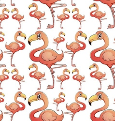 Seamless background with flamingo birds vector image
