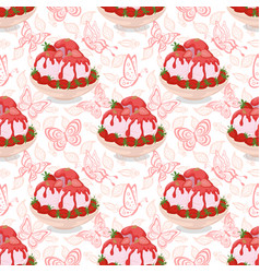 seamless ice cream strawberries and butterflies vector image