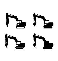 set of excavator in silhouette symbol style vector image