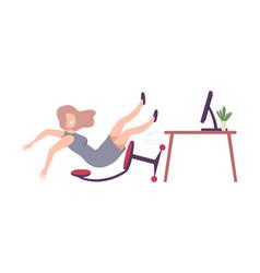 Shocked businesswoman falling backwards in office vector