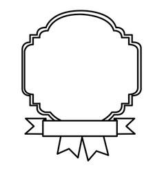 Silhouette border heraldic decorative with ribbon vector