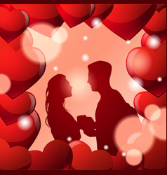 silhouette couple holding hands in frame heart vector image