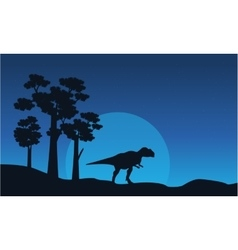 Silhouette of mapusaurus on blue sky landscape vector