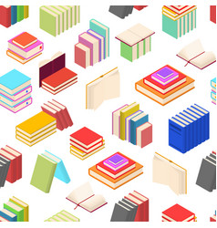 Stack of color books background pattern isometric vector