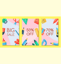 stationery sale set of banners vector image