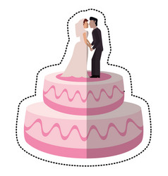 sweet cake wedding with couple vector image