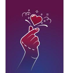 symbol korea finger heart vector image