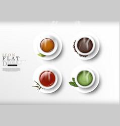Tea cartoon flat subject icon dessert collection vector