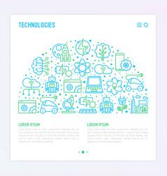 Technologies concept in half circle vector