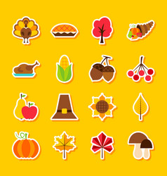 Thanksgiving day stickers vector