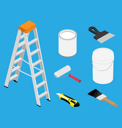 Tools and paints for making repair in flat vector