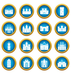 Towers and castles icons blue circle set vector