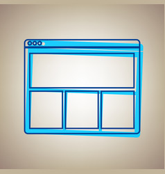 web window sign sky blue icon with vector image