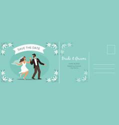 wedding postcard happy couple bride and groom vector image