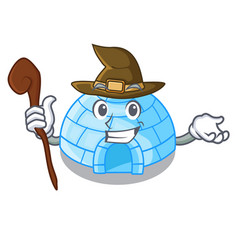 Witch igloo ice house isolated on mascot vector
