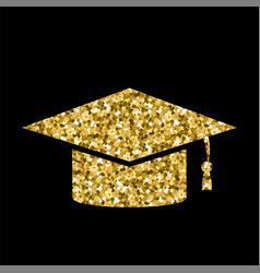 yellow glitter graduation cap icon isolated vector image