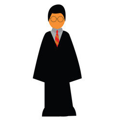 Young boy in harry potter costume or color vector