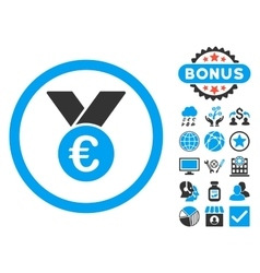 Euro Prize Medal Flat Icon with Bonus vector image vector image