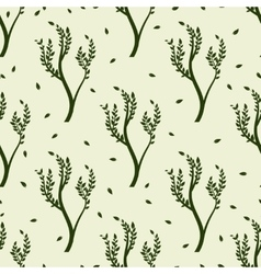 Green tree and leaves seamles pattern vector image