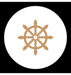 nautical simple symbol wood brown rudder eps10 vector image