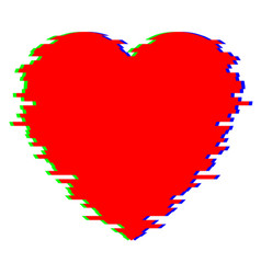 red heart in glitch style vector image vector image