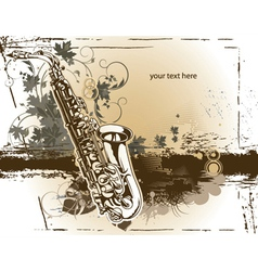 saxophone with floral vector image vector image