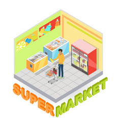 supermarket department interior isometric vector image vector image