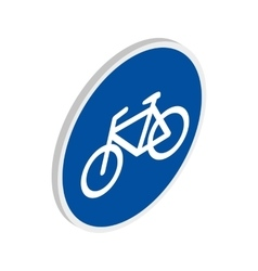 Blue bicycle sign icon isometric 3d style vector image