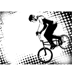 bmx cyclist on the abstract background vector image vector image