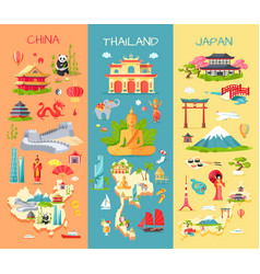 china thailand japan icons of asian countries vector image vector image