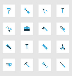 handtools colorful icons set with turn-screw vector image