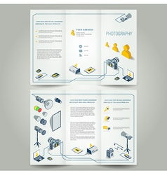 photography brochure photo camera icons vector image