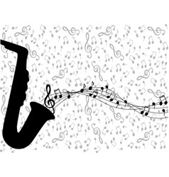 saxophone and notes vector image