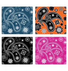 set of four paisley patterns vector image