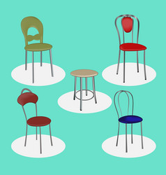 set of metal chairs for bars cafes vector image