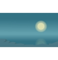 Silhouette of beach landscape and moon vector